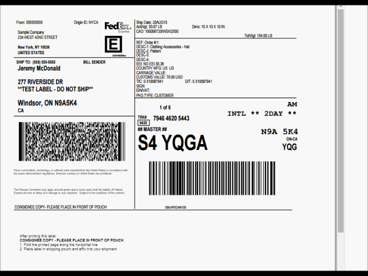 FedEx Label for Laser Printing